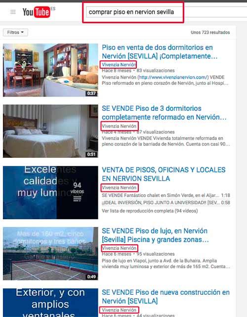 Posicionamiento de vídeos en Youtube para una inmobiliaria sevillana