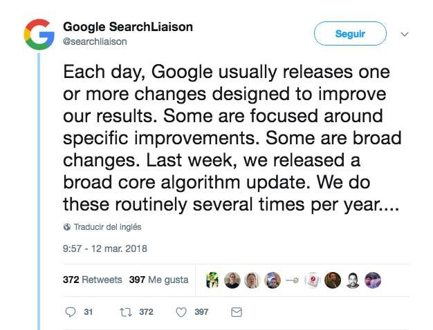 Confirmación de Google de su última gran actualización