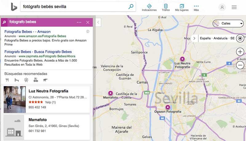 La sección de Maps de Bing es algo más pobre estéticamente que la de Google, y para posicionar un negocio son fundamentales las reseñas en Yelp o Facebook