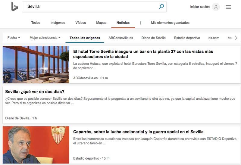Bing ofrece mejores y más actualizadas noticias que el buscador de noticias de Google