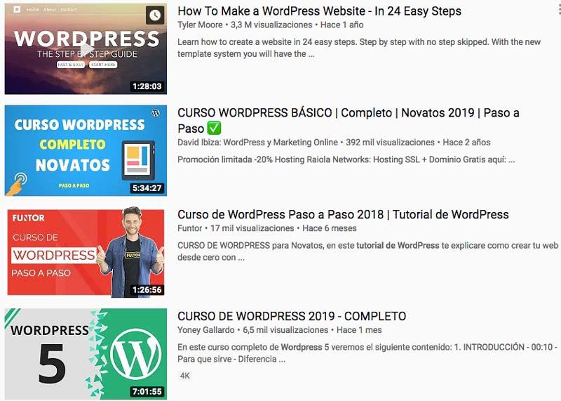 cursos para aprender a utilizar wordpress en youtube diseño web sevilla