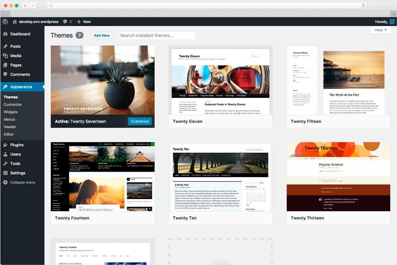 Escritorio típico del diseño de una web hecha con WordPress